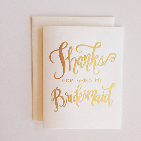 Calligraphy Bridesmaid Card