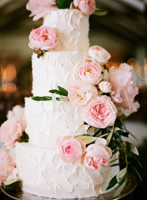 White Buttercream with Pastel Pink Flowers