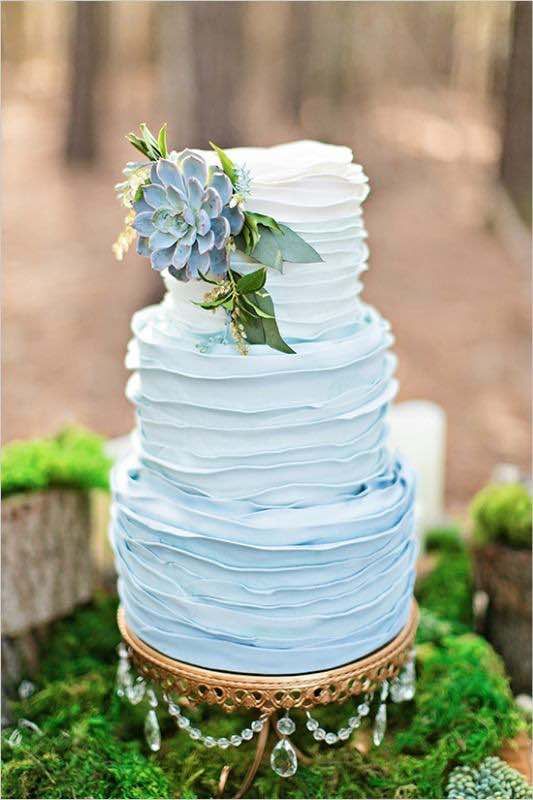 Blue Wedding Cake With Buttercream And Succulents