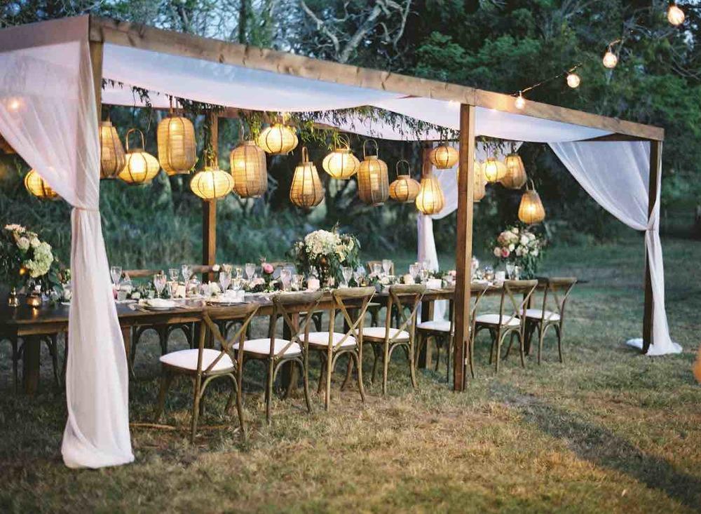 Wedding Greenery Decor With Hanging Lights The Bohemian