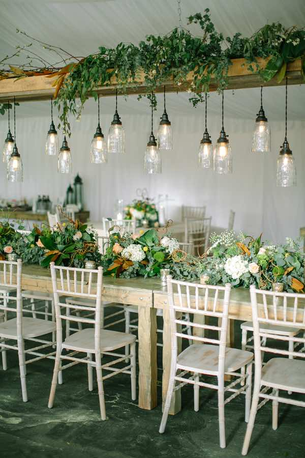 Wedding Greenery Decor With Hanging Lights The Bohemian