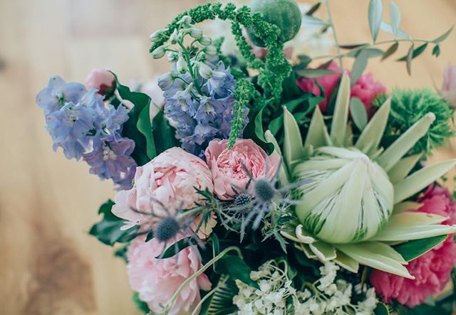 Blue, Pink and Green Wedding Bouquet