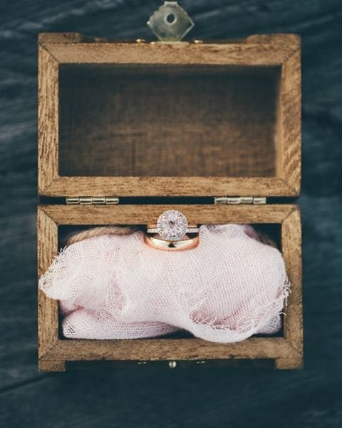 Rose Gold Engagement Ring Set in Rustic Wood Box