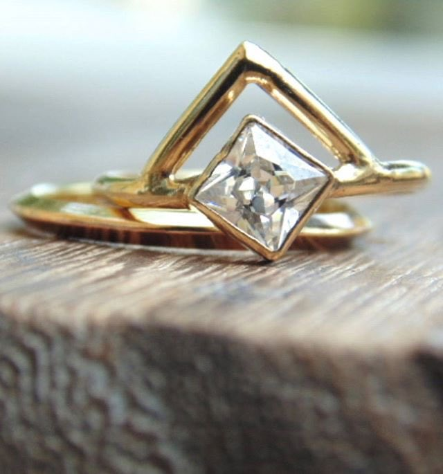 Trillion Gold Engagement Ring by Adriatic Jewelry