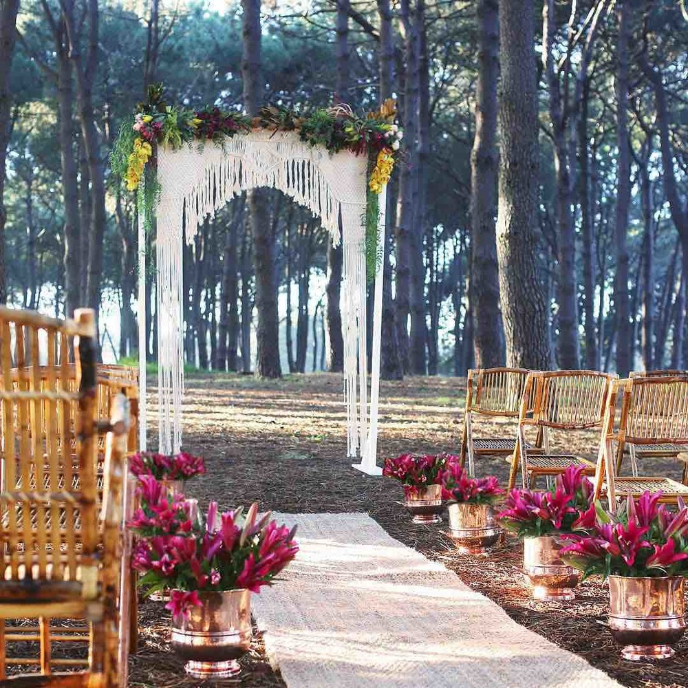 Wedding Arch with Flowers and Macrame