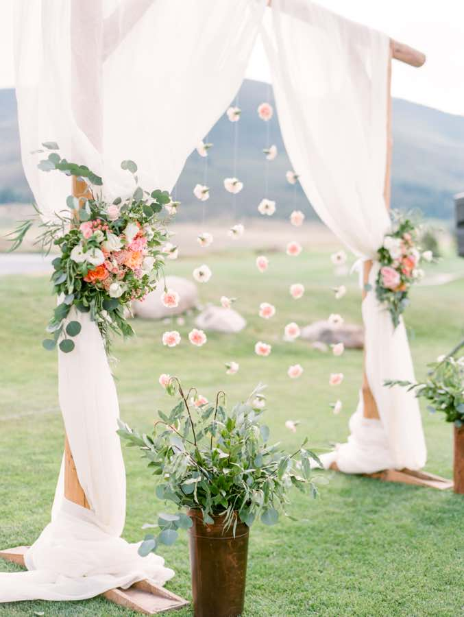 White Fabric Wedding Arch with Flowers & Top 12 Wedding Ceremony Arches With Flowers u2014 the bohemian wedding
