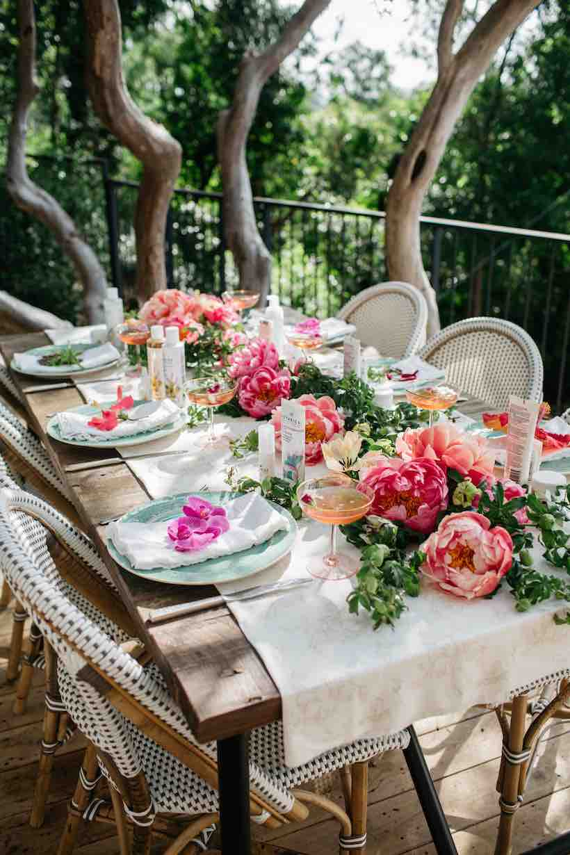 Spring Coral Flower Table Setting