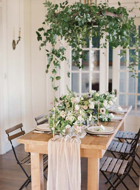 Wedding Table Setting with Silk