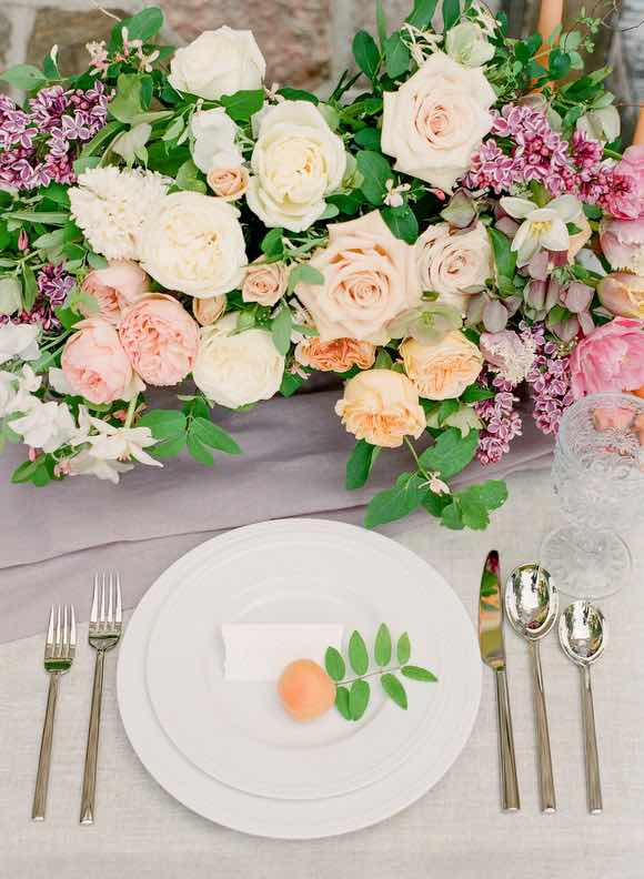 Peach Flower Table Setting