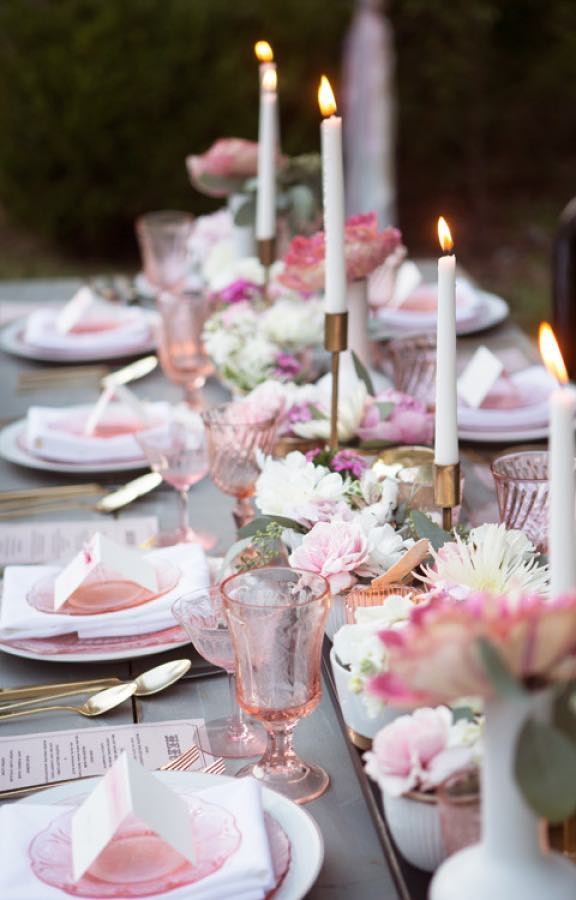 Pastel Pink Table Setting with Flowers and Candles