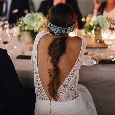 Soft Messy Bridal Braid with Blue Headpiece