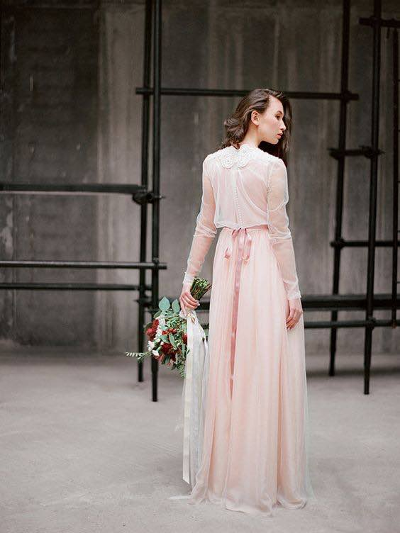 Pink Toned Boho Wedding Dress