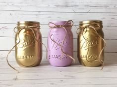 Gold and Lavender Mason Jars