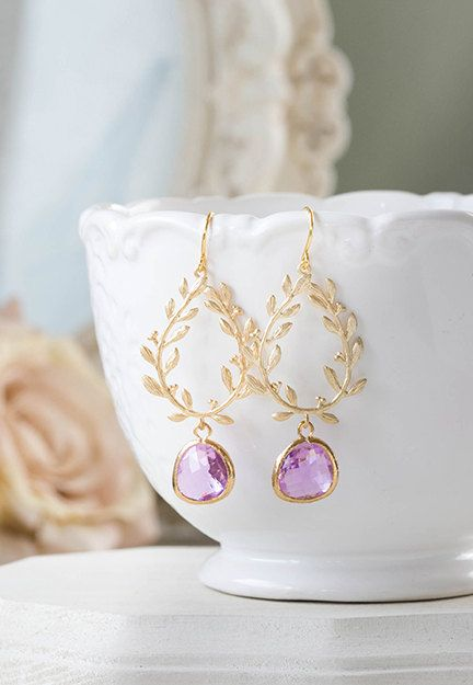Gold Lavender Dangles