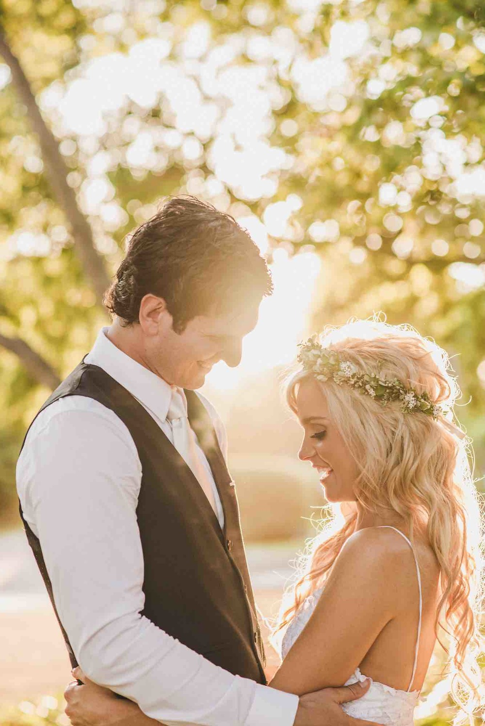 Bride and Groom in Warm Sunlight