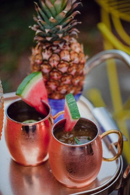 Watermelon Cocktails in Copper Mugs