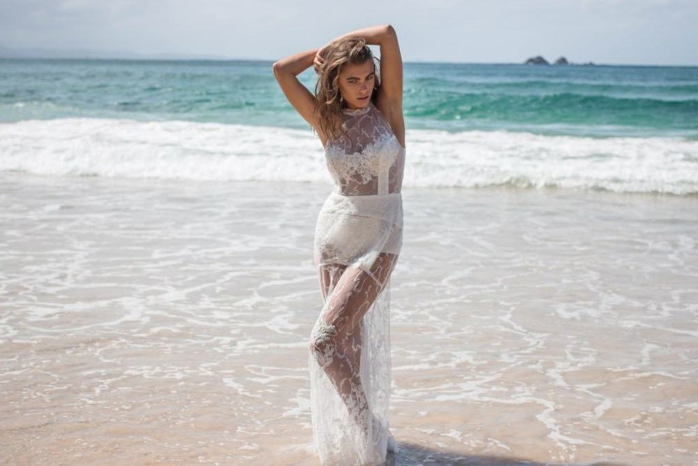 Georgia Young Couture Sheer Lace Dress on Beach