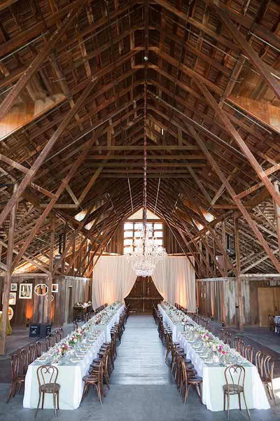 Barn Interior with Long Tables