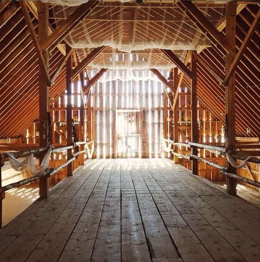 Barn Interior with Fabric