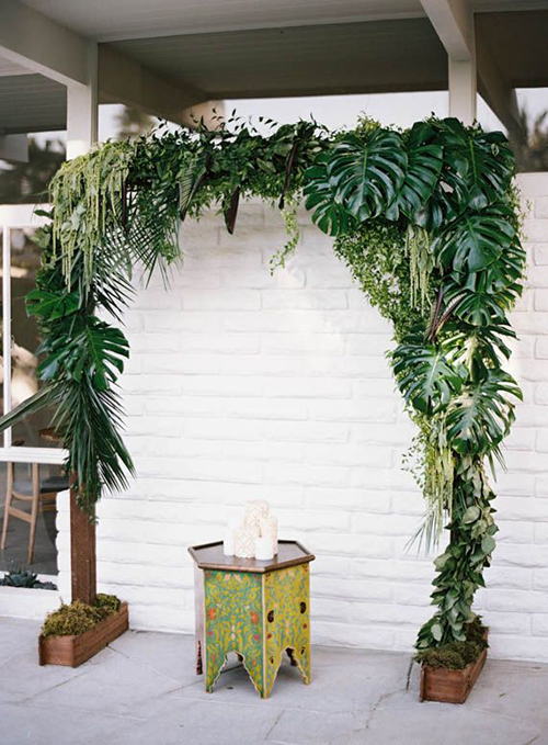 Tropical Greenery Wedding Arch