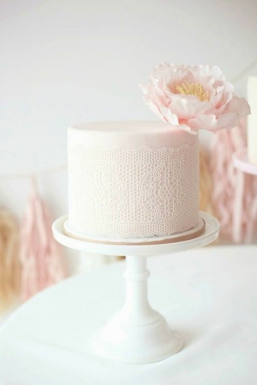White Minimalist Wedding Cake with Lace