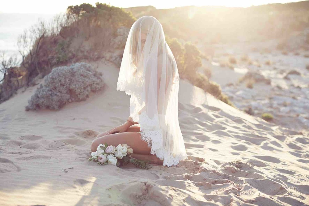 Lost in Love Photography - Wedding Lingerie with Veil and Flowers