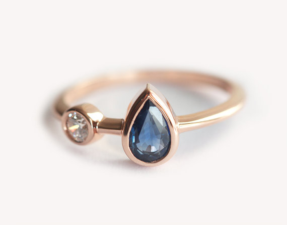 Rose Gold Pear Sapphire Ring