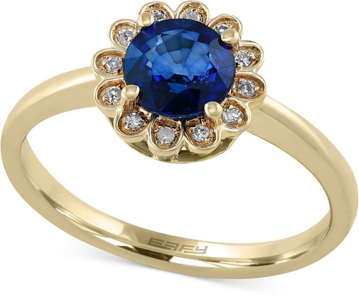 Blue Sapphire Ring with Gold and Flower Detail