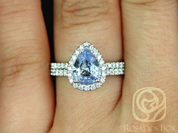 White Gold Pear Sapphire