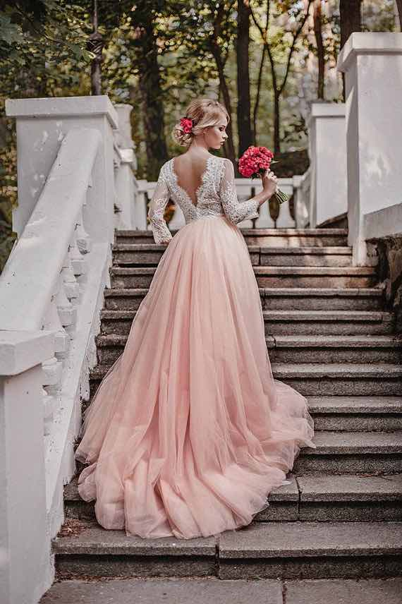 Affordable etsy boho wedding dresses under 1000 the bohemian wedding pink tulle wedding dress junglespirit Choice Image