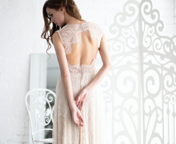 Open Back Lace Boho wedding Dress