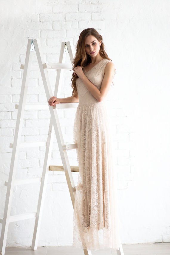 Lace Wedding Dress on Ladder