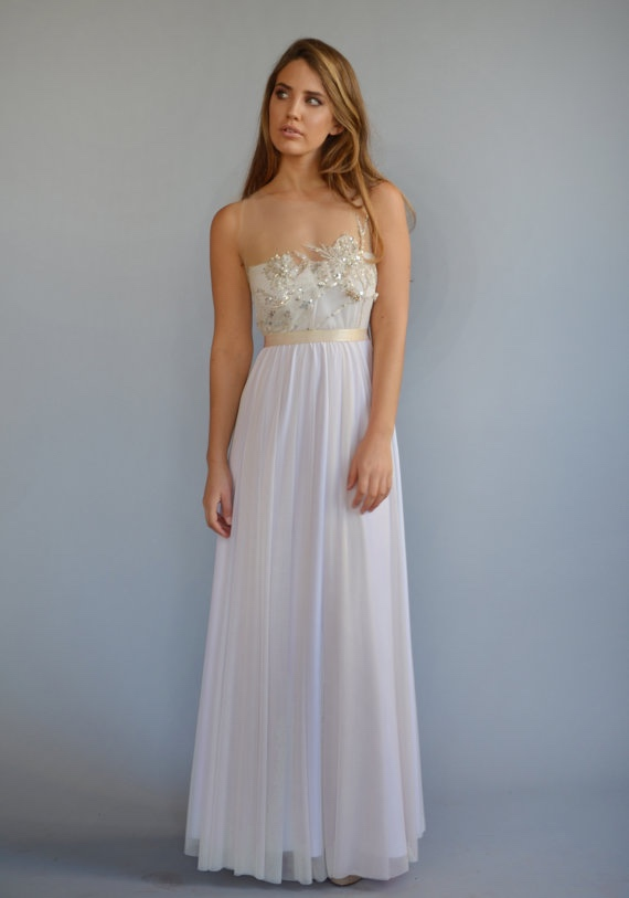 Boho wedding dress with beaded embroidery