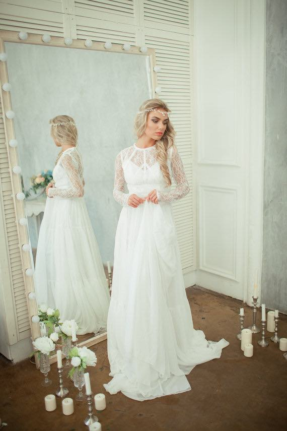 Kelly - Lace back wedding dress with long sleeves