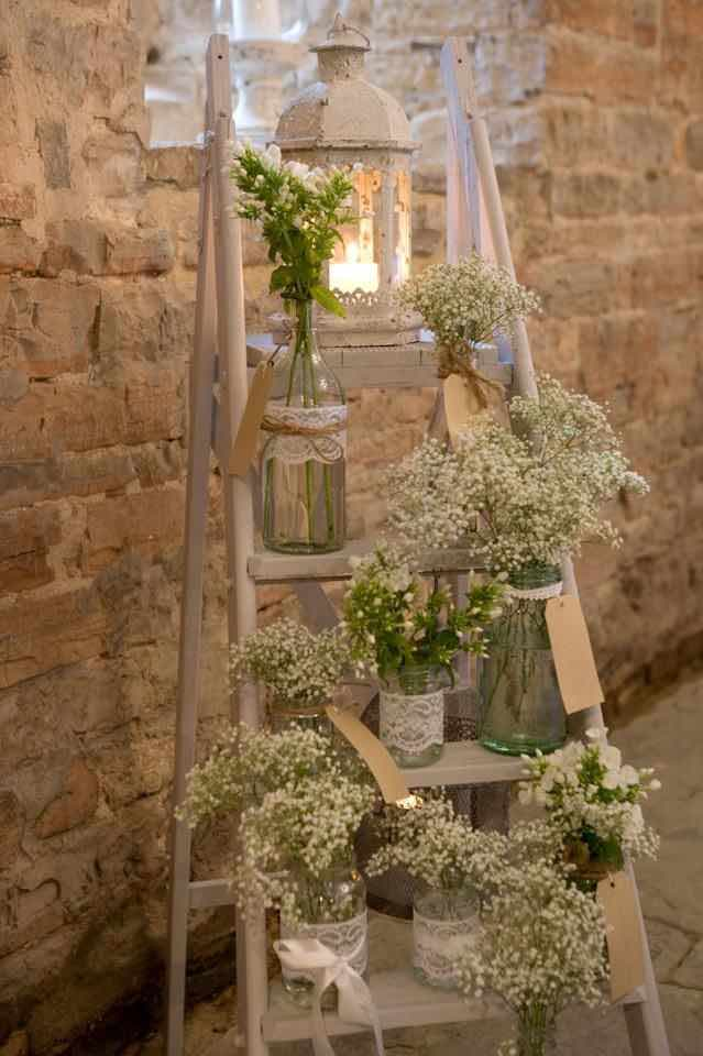 Baby's Breath in Mason Jar on Ladder