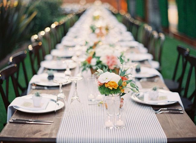 California Backyard Wedding Table Setting