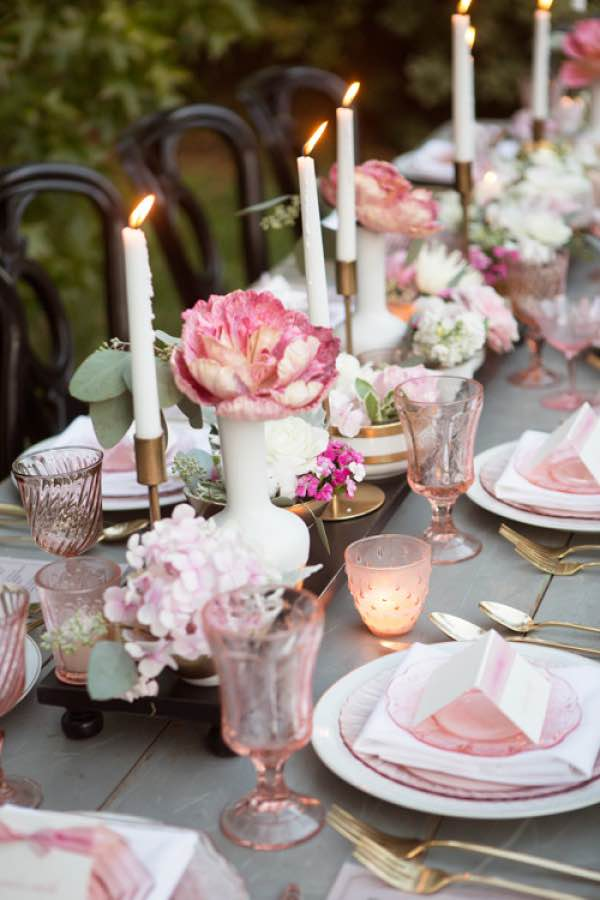Pink and White Candle Table Setting