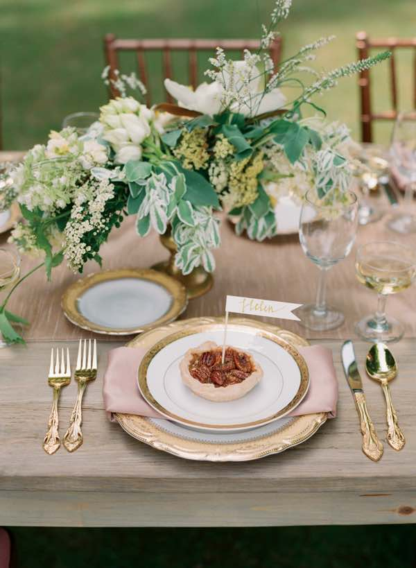 Rustic Table Setting with Pecan Tart