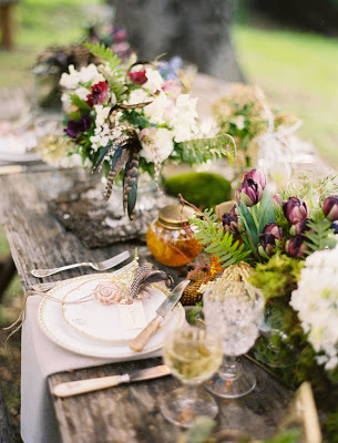 Rustic Table Setting with Flowers