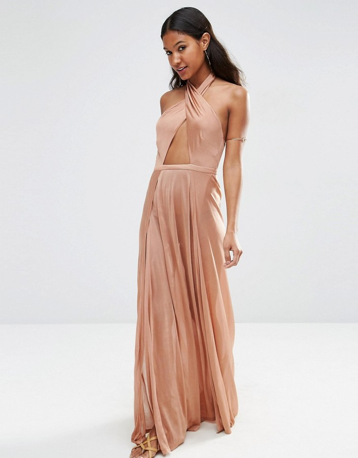Rose Gold Halter Crossover Maxi Dress