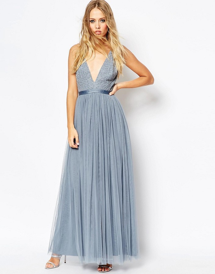 Soft Blue Tulle Maxi Dress