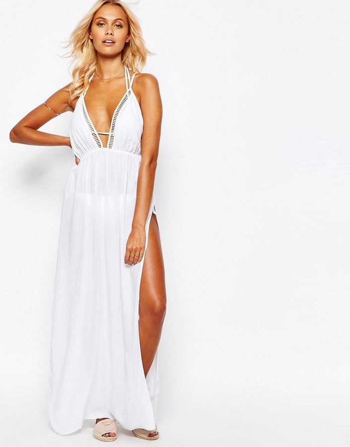 White Halter Maxi with Slit
