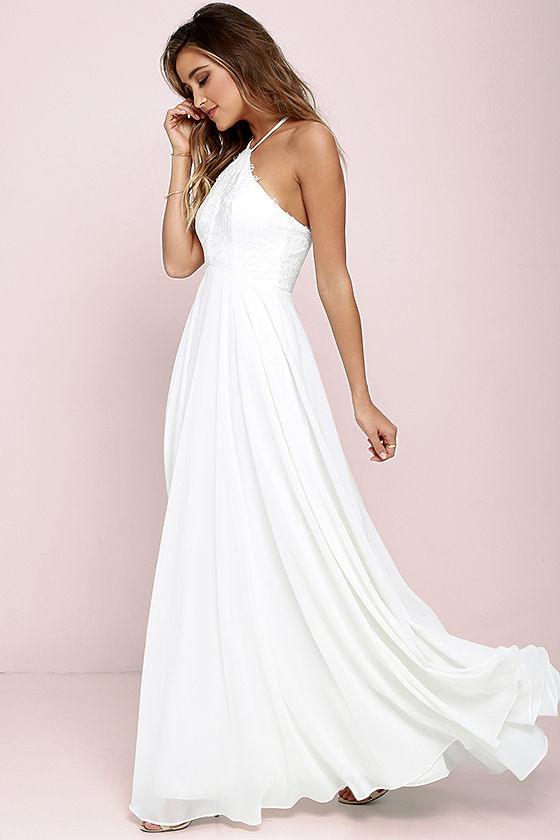 Lulus White Halter Maxi Dress