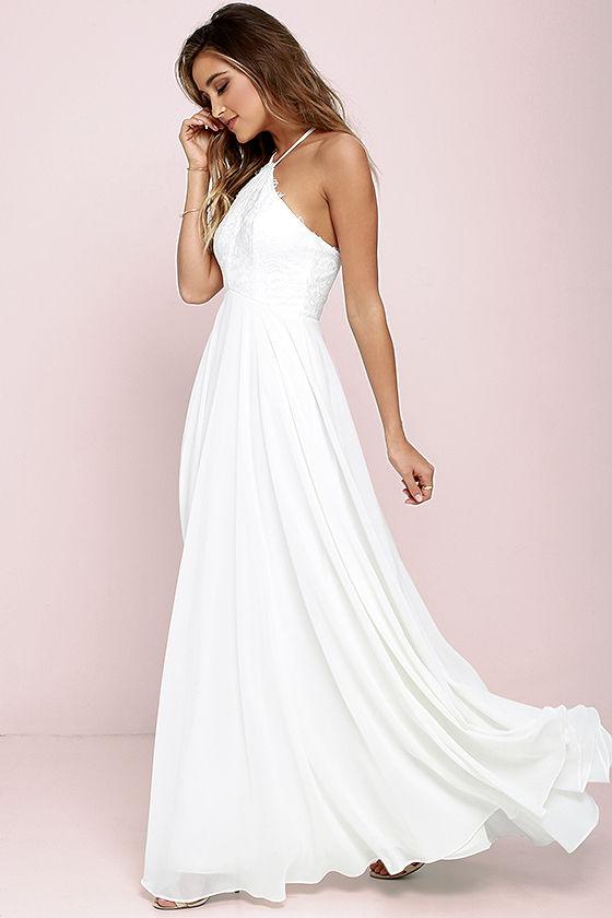 White halter long summer dresses