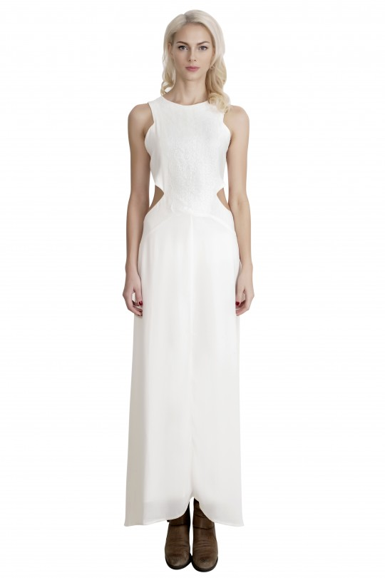 Boaime White Cut Out Maxi Dress