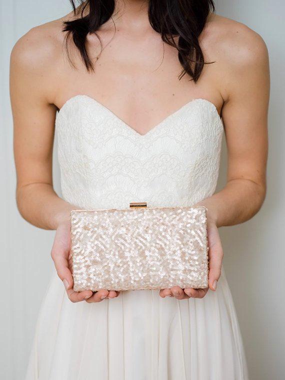 Rose Gold Sequin Box Clutch