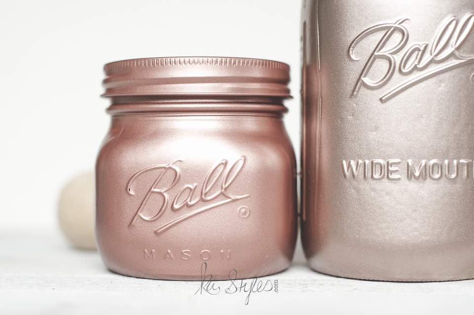 Rose Gold Mason Jars