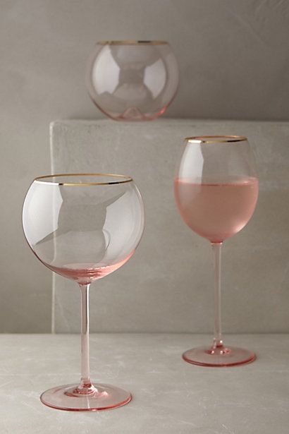 Rose Gold Rim Stem Glasses