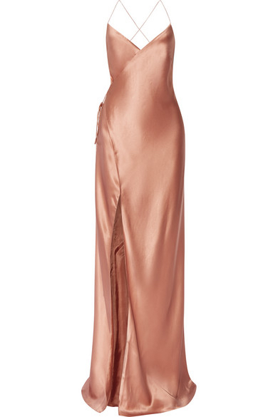 Rose Gold Slip Wrap Dress