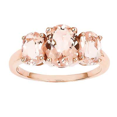Three Stone Morganite Rose Gold Ring